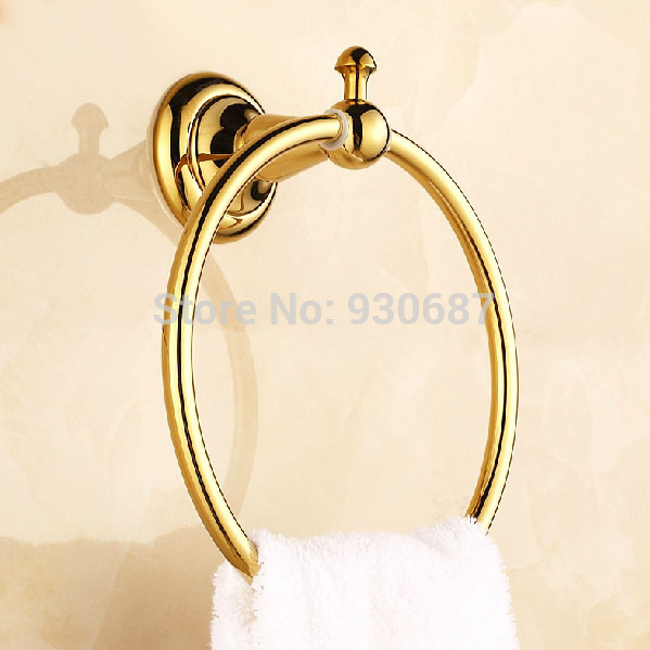 ФОТО Free Shipping Gold Plated Bathroom Wall Mount Solid Brass Towel Rings