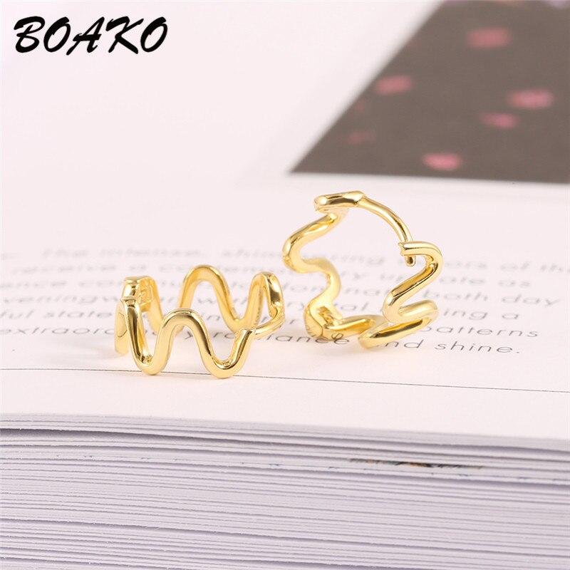 Wave Shaped Earrings Irregular Handmade Wire Earring for Women Geometric Ear Jewelry 100 925 Sterling Silver Stud Earrings in Stud Earrings from Jewelry Accessories