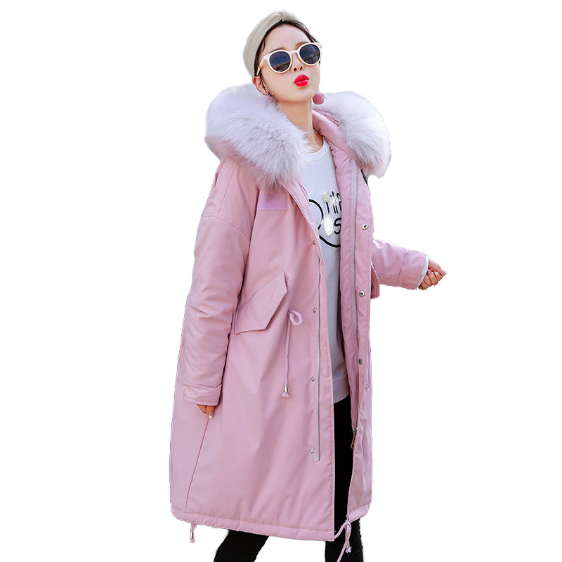 Winter   Parkas   Women Cotton Coat Plus size Loose Down cotton Jacket Thicken Hooded Tops Female Long Coats 100kg can be worn H614