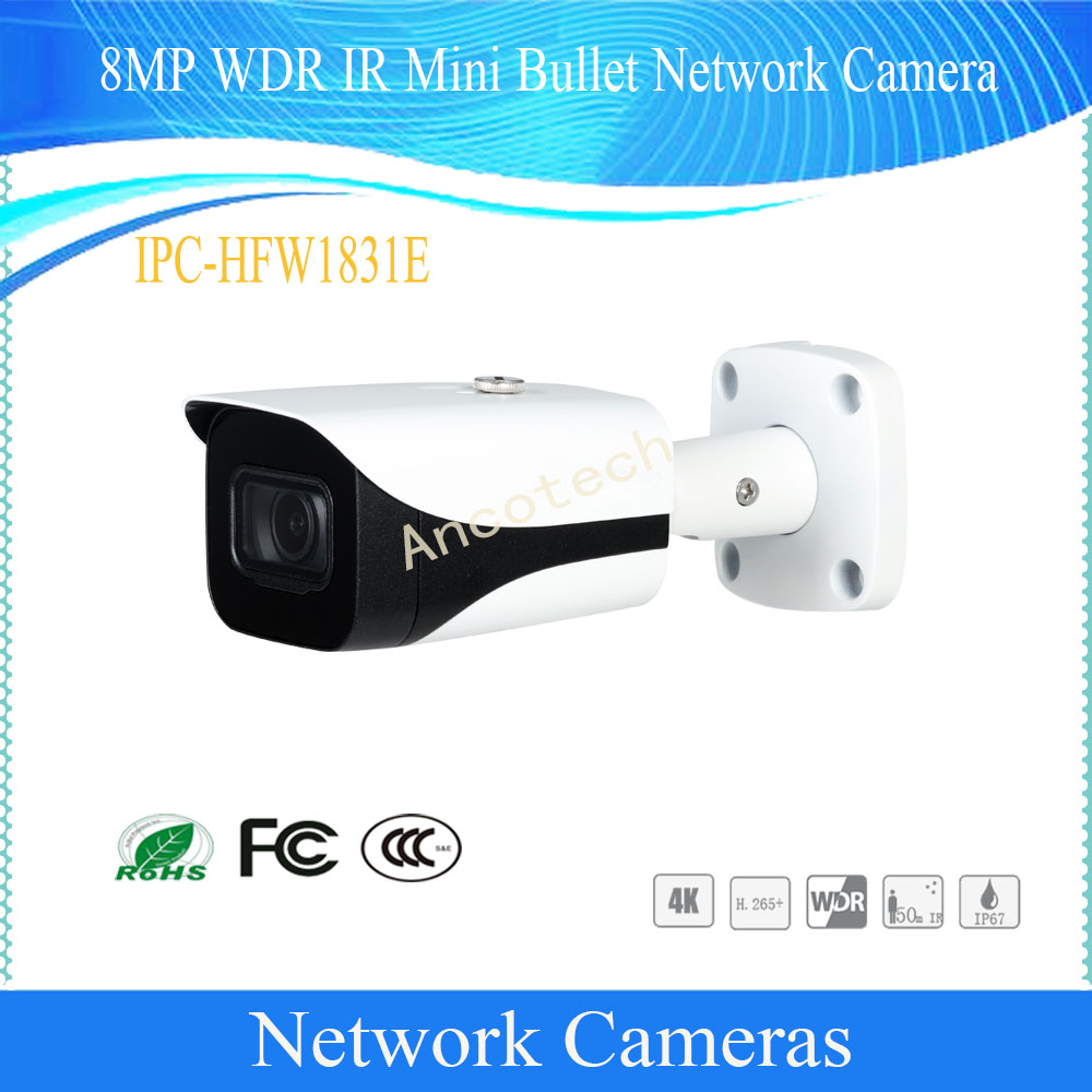 Free Shipping Security CCTV IP Camera 8MP WDR IR Mini Bullet Network Camera With POE IP67 without Logo IPC-HFW1831E цена 2017