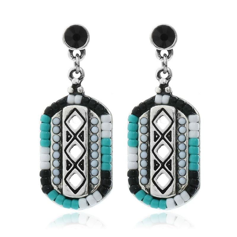 Fashion Bohemia Blue Color Beads font b Earrings b font Brincos Ethnic Charms Square font b