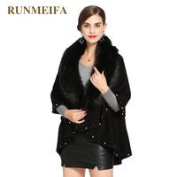 RUNMEIFA New Fashion Faux Fur Scarf For Women Noble Mantle Plus Size Femme Elegant Poncho Winter Warm Wraps Lady Fashion Cloaks