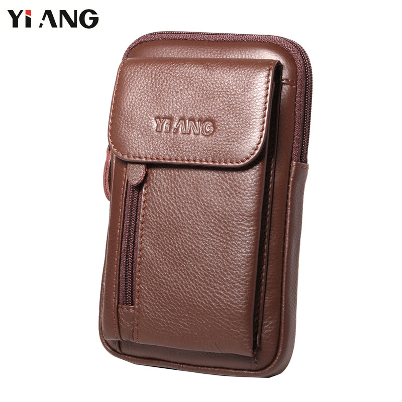 YIANG Fashion MEN'S Genuine Leather Cigarette Pure WAIST Bag Fanny PACK Molle Small Money Phone Pocket WAIST PACK Shoulder Bag