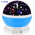 Free shipping New Rotating Star Moon Sky Rotation Night Projector Lighting Projection Lamp with high quality Kids Sleeping Lamp
