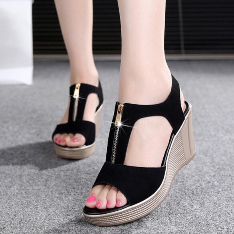 D & Henlu 2018 Femmes Sandales D'été Plate-Forme Sandales Talons hauts Sandale Chaussures Femmes Dames Sandale Talons Wedge sandalia plataforma