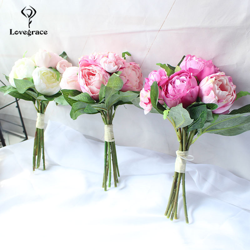 Fashion Wedding Centerpiece Artificial Flowers White Peony Bunch Handmade DIY Bridal Bouquet Wedding Decor Pink Rose Accessories