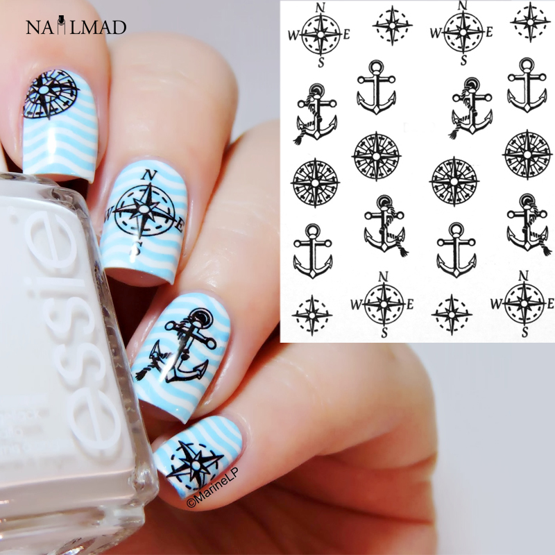 1 sheet Compass Anchors Nail Water Decals Black Transfer Stickers Nail Art Sticker Tattoo Decals 1 sheet yellow lemon nail water decals transfer stickers fruit pattern nail art sticker tattoo decals ds214