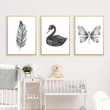 Black Swan Nordic Poster Minimalist Painting Living Canvas Prints And White Feather Wall Art Print Pictures Unframed