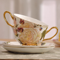 European Style High-grade Bone China Coffee Cup Set Butterfly and flower Creative Afternoon Tea Cup Black Cup Creative Gift