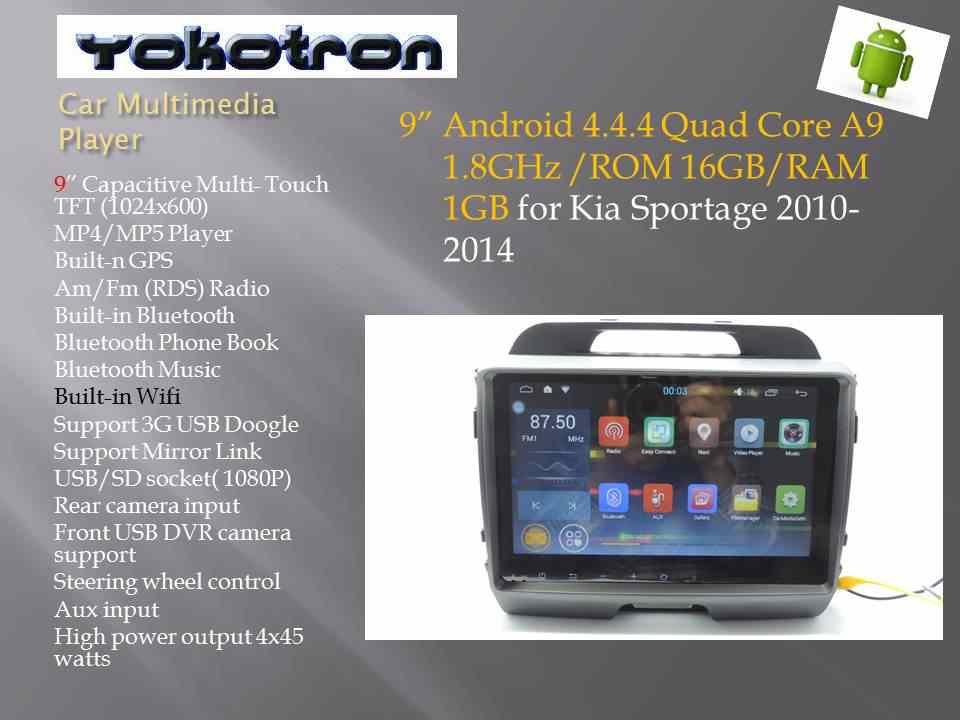 """""""Yokotron"""" 9 """"сенсорный 1 Din Android 4 автомобильный радиоприемник для Kia Sportage 2008 2009 2010 2011 2012 2015 + gps + бесплатная задняя камера + фронтальная камера видеорегистратора"""