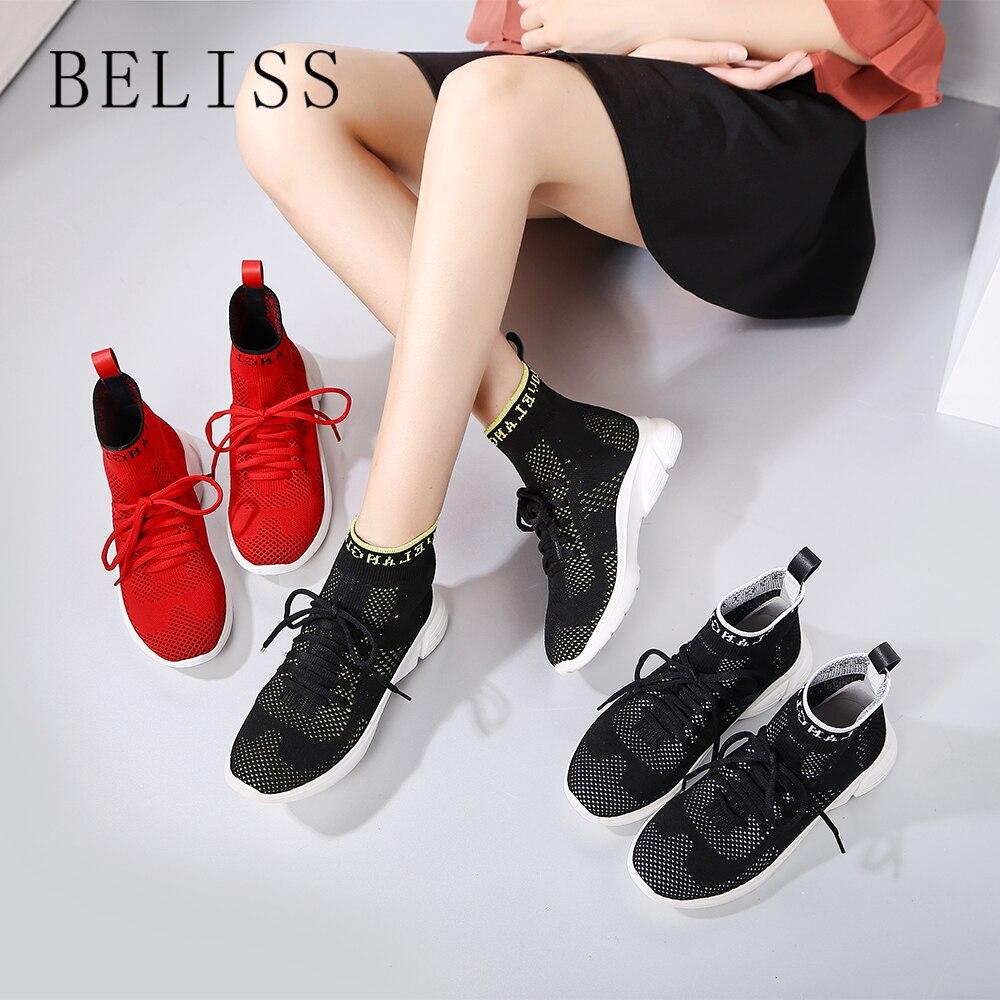 BELISS 2018 nouveau extensible respirant chaussettes chaussures femme sauvage qualité à fond plat chaussures de sport décontracté bottes nues M2