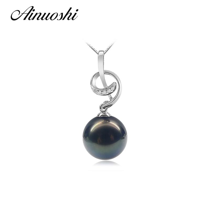 Здесь можно купить  AINUOSHI Luxury 925 Sterling Silver Women Necklace Pendants Natural Tahitian Black Pearls 10.5-11mm Round Pearl Lovely Pendants  Ювелирные изделия и часы