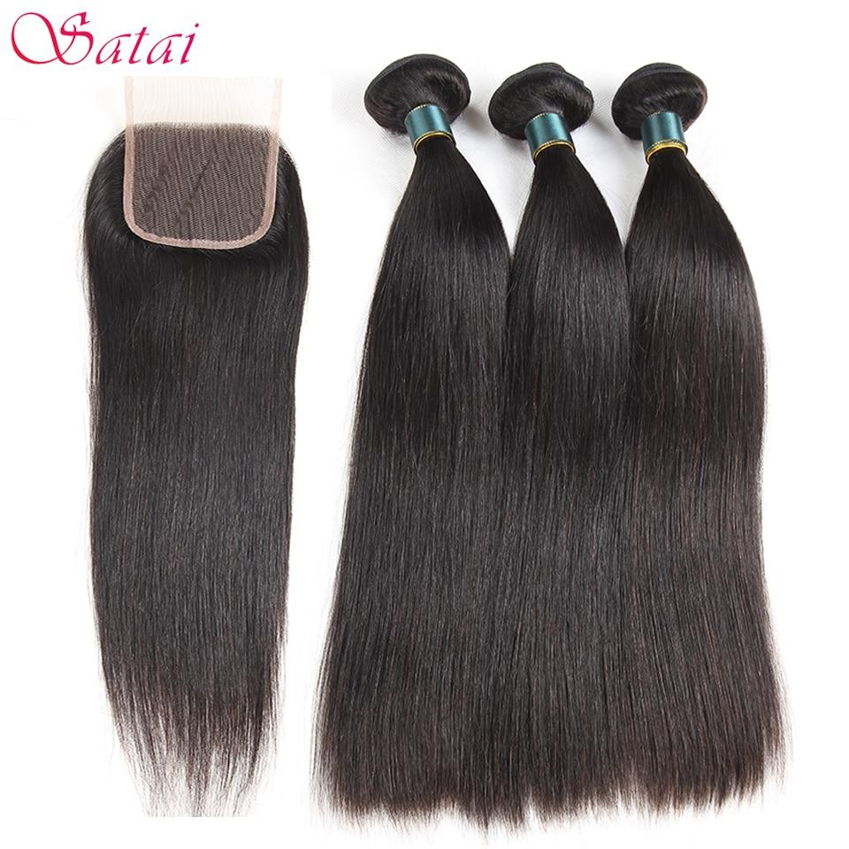 Satai Straight Hair Extension Human Hair Bundles With Closure Natural Clolor Malaysian Hair 3 Bundles With Closure Non Remy Hair