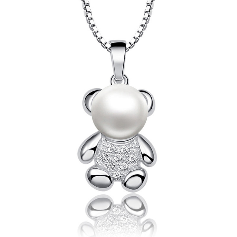 Sinya 925 sterling silver Pendant with Chain for women Natural freshwater pearl charm necklace choker lovely bear design Jewelry
