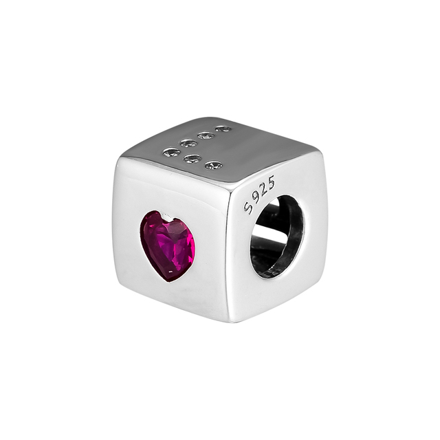 cff5b2178 Fits Pandora Charms Bracelets 925 Sterling Silver Love Dice Charm with Red  and Clear CZ DIY Beads Jewelry Making for Women