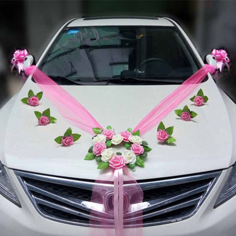 Wedding car decoration sets artificial flower diy garlands for Automotive decoration