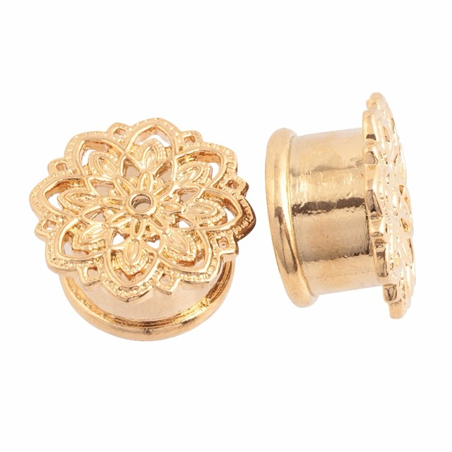2pcs gold copper tribal lotus flower plugs ear tunnel gauges 2pcs gold copper tribal lotus flower plugs ear tunnel gauges piercing ear stretchers single flared 10mm mightylinksfo