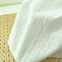 Pure White Fine Cotton Hollow Embroidery Fabric Computer Whole Embroidery Vertical Stripes Flower Summer Fabric