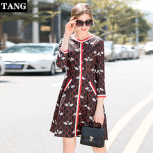 Women Vintage Bee Printed A-line Party Dress Long Sleeve O neck Mid Casual 2019 Summer Autumn New Fashion