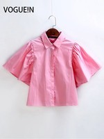 VOGUE N New Womens Ladies Pink Trumpet Short Sleeves Back Open Blouse Tops Shirt Size SML