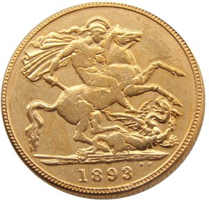 1893 GREAT BRITAIN QUEEN VICTORIA PROOF 1 SOVEREIGN GOLD PLATED COIN