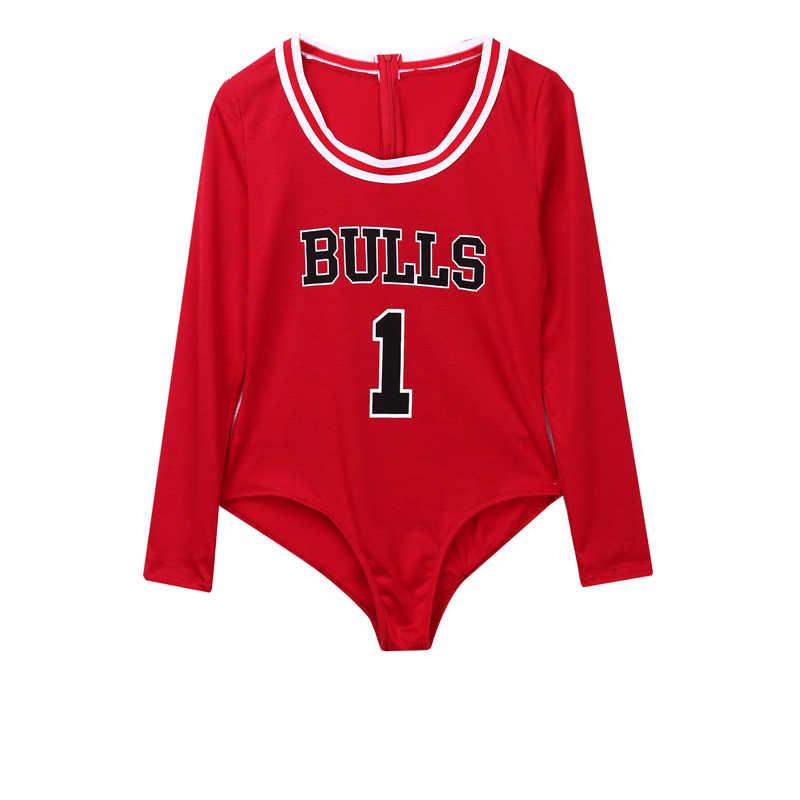 ใหม่ฤดูใบไม้ร่วงผู้หญิงเซ็กซี่ Slim Bodysuits Letter บูลส์พิมพ์ Rompers Overalls Playsuits Bodycon สีดำสีแดง Club Jumpsuit
