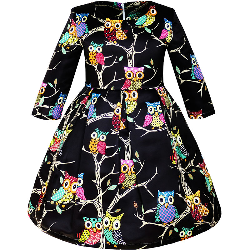 все цены на Sunny Fashion Girls Dress Fit-and-flare Owl Party Long Sleeve Cute 2018 Summer Princess Wedding Dresses Girl Clothes Size 4-14