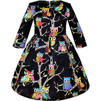 Sunny Fashion Girls Dress Fit And Flare Owl Party Long Sleeve Cute 2016 Summer Princess Wedding