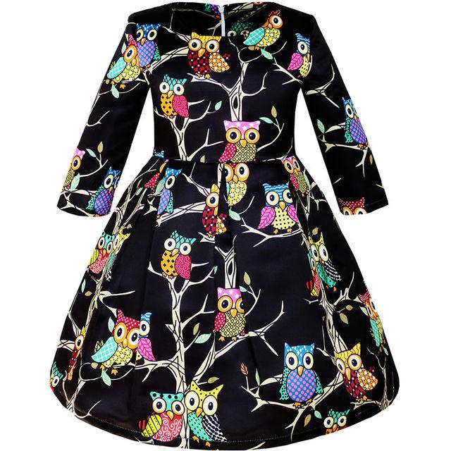 Sunny fashion girls dress fit-and-flare partido coruja manga longa bonito verão 2017 vestidos de casamento da princesa roupas de menina tamanho 4-14