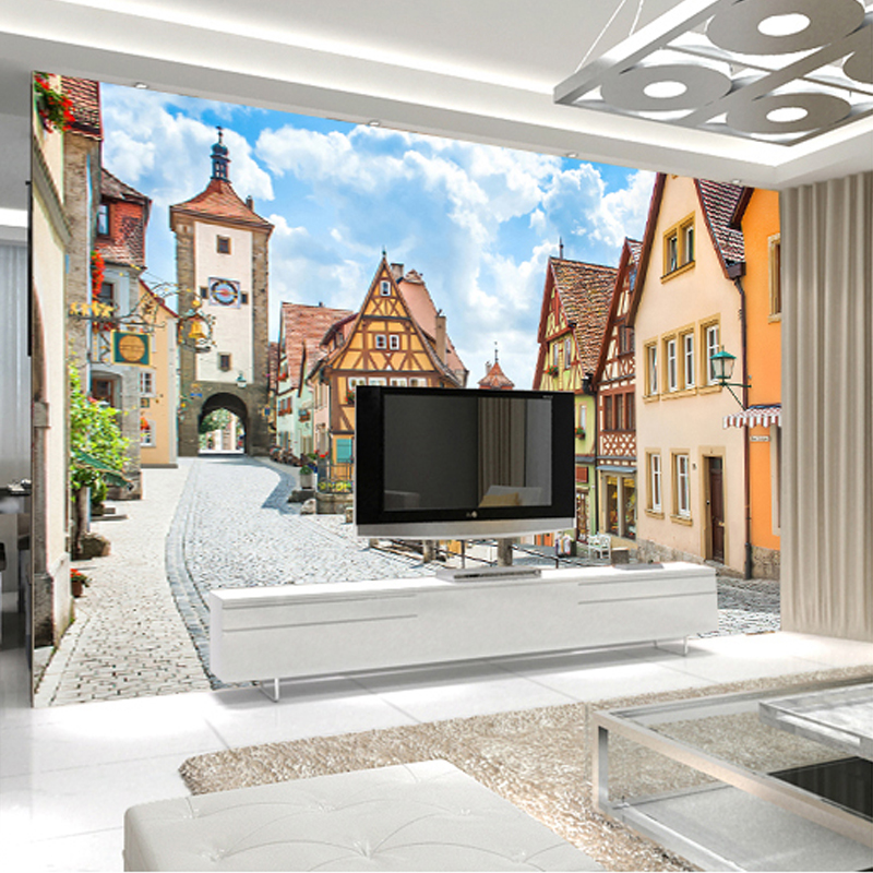 3D Country Style Wall Mural Countryside Street And Houses Photo