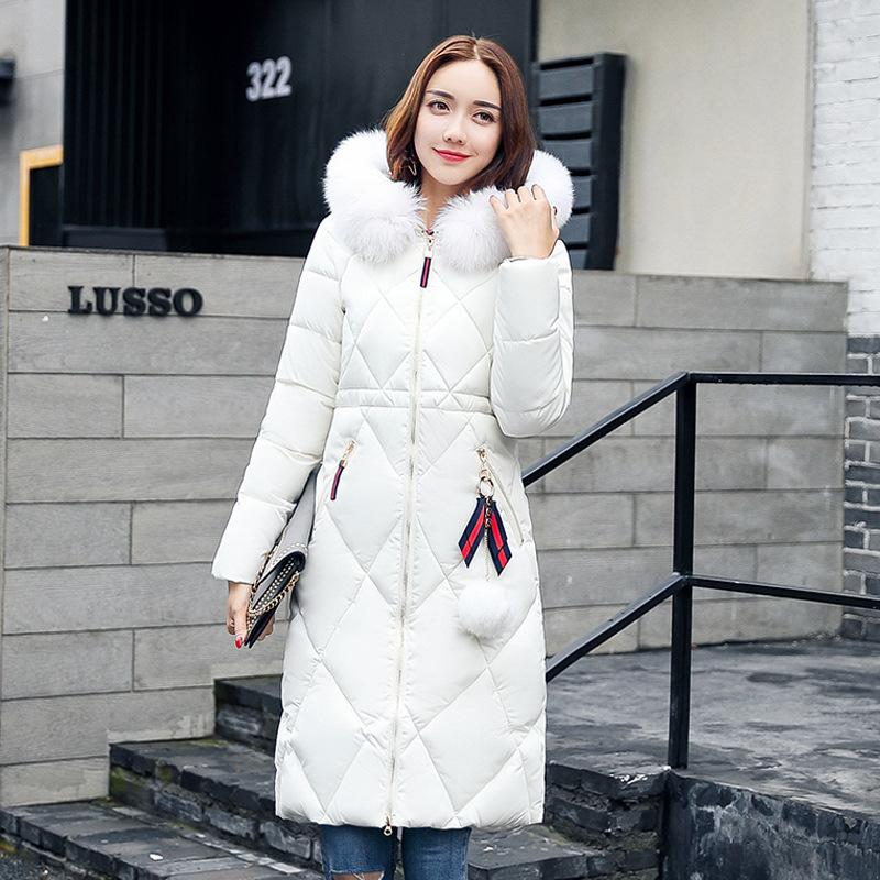 Women Fashion Winter Hooded Down Jacket Faux Fur Collar Warm Elegant Thick Outerwear Female Solid Color Slim Long Coat Plus Size plus size winter jacket new style women down cotton overcoat thick warm coat elegant slim hooded fur collar jacket female ok280