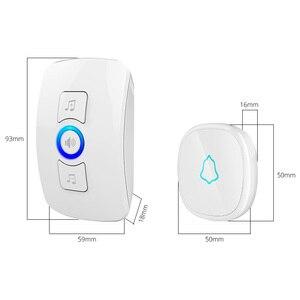 Image 5 - Fuers בית אבטחה בברכה אלחוטי פעמון חכם פעמוני פעמון אזעקת LED אור 32 שירים עם עמיד למים מגע כפתור