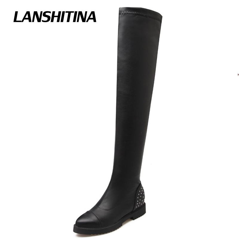 цена на LANSHITINA Women Over Knee Boots Ladies Riding Fashion Long Snow Boot Warm Winter Brand Botas High Heel Cool Footwear Shoes G115