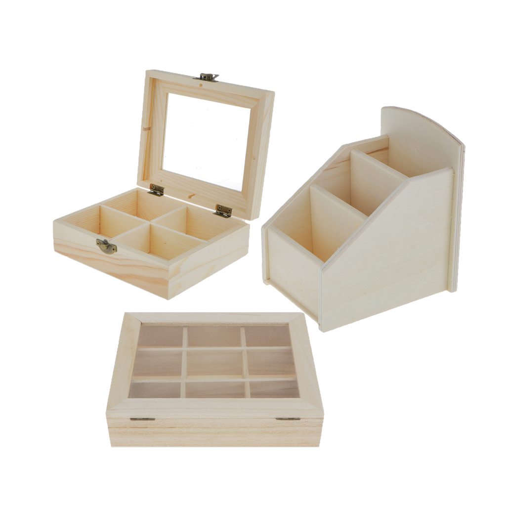 Unfinished wood craft boxes - 3pcs Natural Unfinished Plain Wooden Jewelry Box Case Handmade Unpainted Wood Craft Diy China