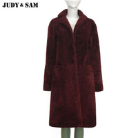 Brand Design Shearling Lamb Fur Coat Red Wine Long Out Wear For Women