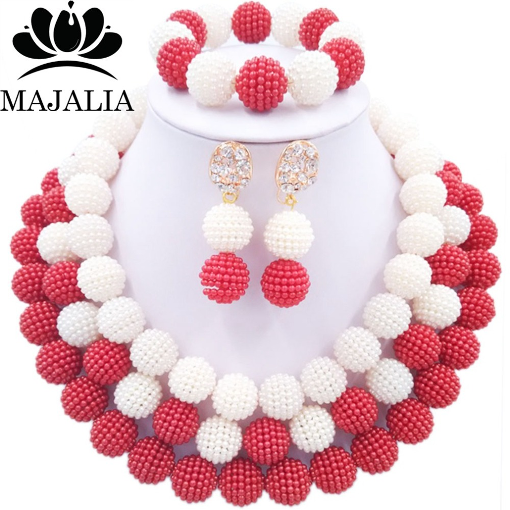 2017 Fashion nigerian wedding african beads jewelry Set red and white plastic beads necklace bracelet earrings jewelry set E-0062017 Fashion nigerian wedding african beads jewelry Set red and white plastic beads necklace bracelet earrings jewelry set E-006