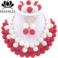 2017 Fashion nigerian wedding african beads jewelry Set red and white plastic beads necklace bracelet earrings jewelry set E-006