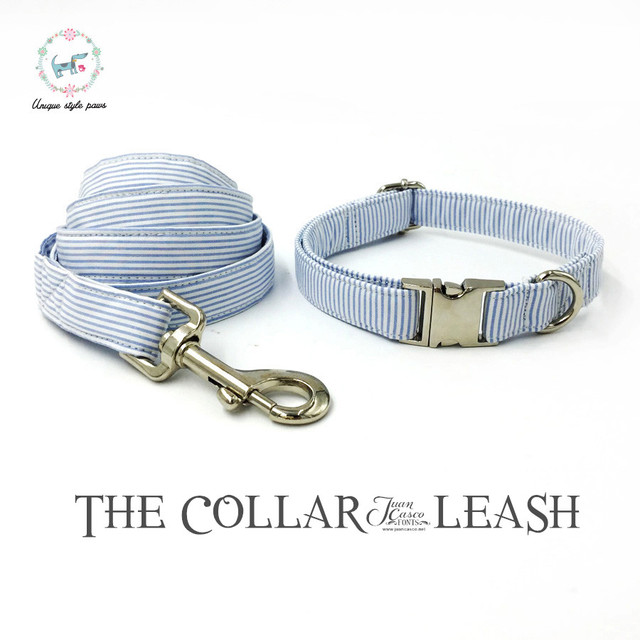 Blue striped Collar set with Leash and Bow Tie