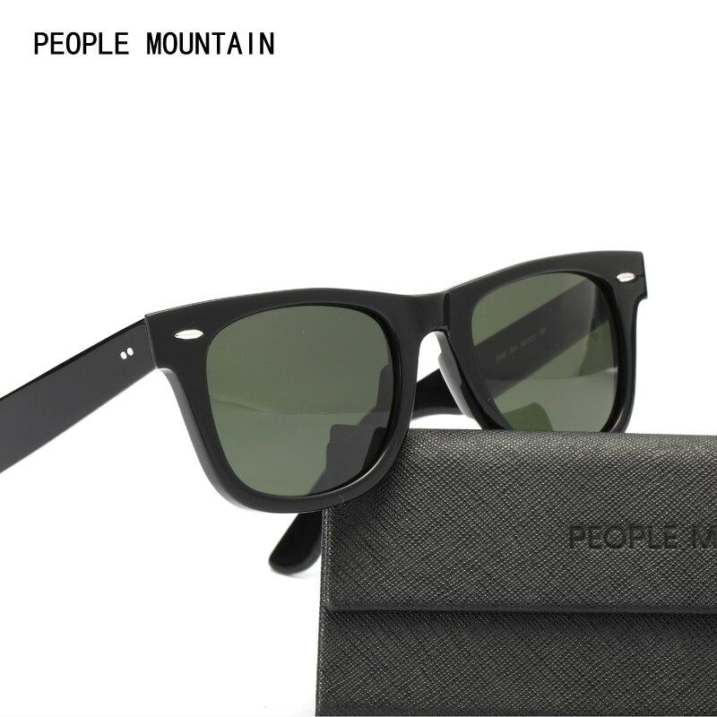 Real Glass Lenses Mirror Sunglasses Men Women 50mm G15 Lens