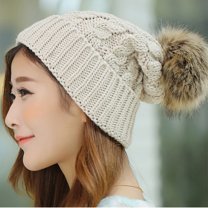 2017 Women's Winter Hats Beanies Knitted Women Cap Crochet ...