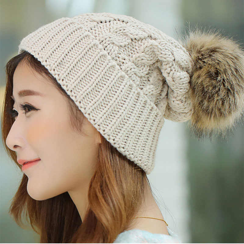 188ca2a9595b5 Detail Feedback Questions about 2018 Women s Winter Hats Beanies Knitted  Women Cap Crochet Winter Hats For Female Cute Casual Fur Pompom Beanie Ear  Braid ...