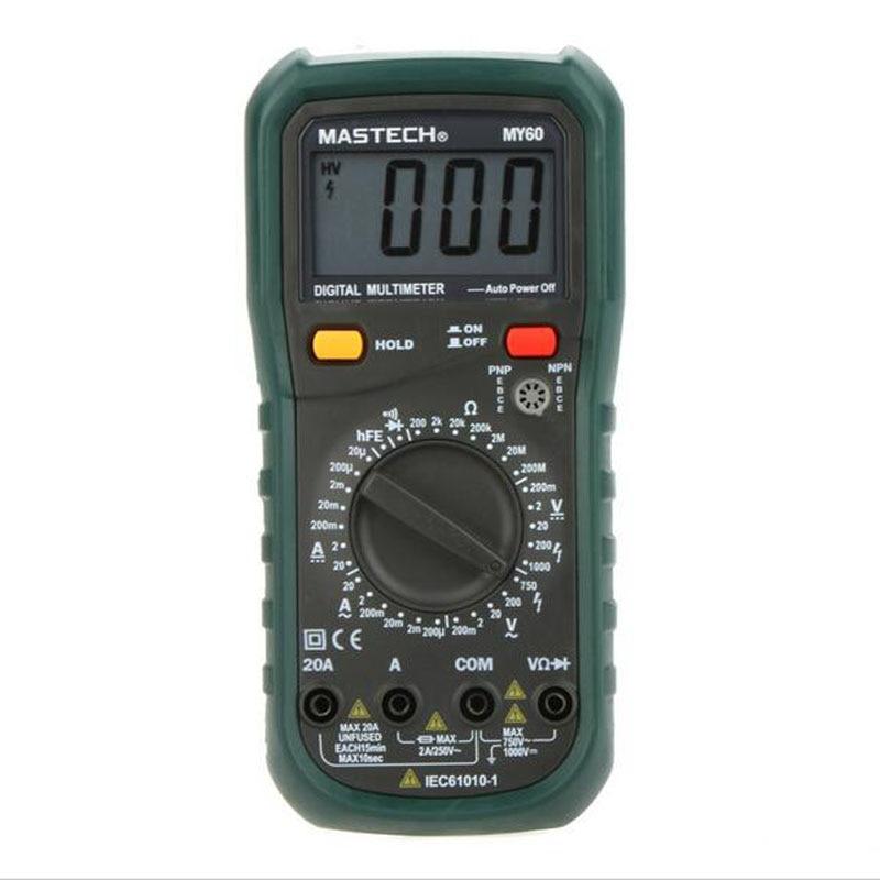 MASTECH MY60 Digital Multimeter DMM AC/DC Voltmeter Ammeter Ohmmeter Tester w/hFE Test Multimetro Ammeter Multitester  цены