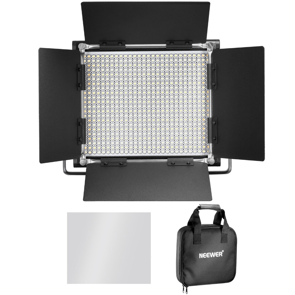 Neewer 3200-5600K Bi-color Dimmable CRI 95 660 LED Light+U Bracket Barndoor for Studio/YouTube/Photography/Video EU Plug gvm dimmable 520 led video light 3200 5600k cri97 tlci97 professional led studio light for interview photography video light