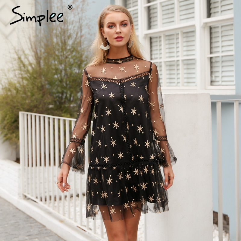 Simplee Mesh star print transparent lace dress women Hollow out long sleeve summer dress Streetwear short casual dress vestidos Платье