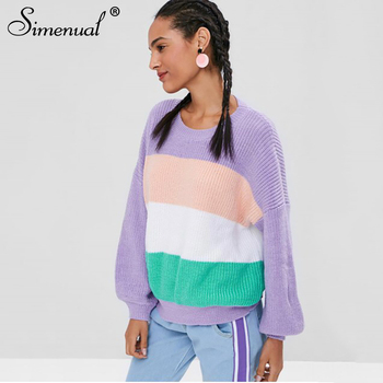 42cf0b7f52 Simenual Rainbow striped sweater women knitted pullovers long sleeve jumpers  purple 2019 casual sweaters female fashion
