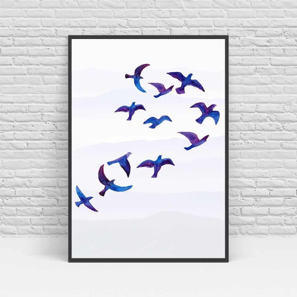 Hd الطباعة الشمال الاسكندنافية الطباعة شجرة الطيور الجدار ملصق الفن غرفة المعيشة بخاخ المشارك حرية الملاحة