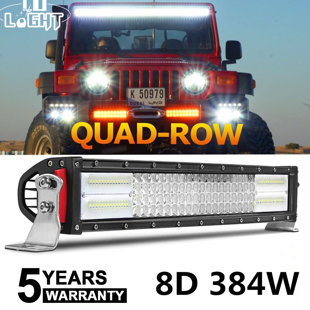 CO LIGHT 8D 4-Row 22 4x4 LED Light Bar Offroad 384W Combo Led Work Light Bar for Truck SUV ATV 4WD Boat Driving Led Bar 12v 24v 43inch led light bar 200w single row led work light combo offroad 4x4 led bar light car fog driving lamp for ford f150 f250 f350