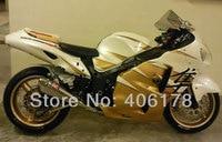 Free Shipping GSXR1300 96 07 Hayabusa Fairing For Suzuki 1996 2007 Gold And White Motorcycle Fairings