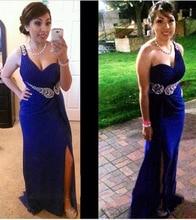 Königsblau Prom Party Kleider 2016 Vestido De Festa Longo eine Linie Schatz Eine Schulter Perlen Elegante Abendkleider Abendkleid abendessen