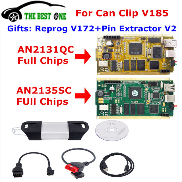 Pour peut Clip V185 or pleine puce cyprès AN2131QC AN2135SC extracteur de broches V2 Reprog V172 OBD2 voiture d'interface de Diagnostic 1998-2019